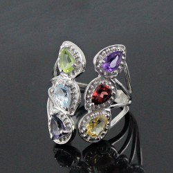 925 Sterling Silver Jewelry !! Multi Color Choice Gemstone Rhodium Plated Ring