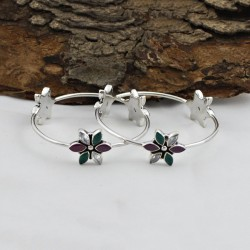 Natural Multi CZ Gemstone Flower Shape Bangle 925 Sterling Silver Handmade Jewely