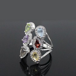 Amazing Ring !! Multi Color Stone 925 Sterling Silver Rhodium Plated Ring