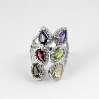 Multi Color Stone Rhodium Plated 925 Sterling Silver Ring