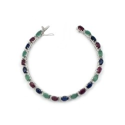 Awesome Designer Multi Gemstone 925 Sterling Silver Charming Bracelet Jewelry