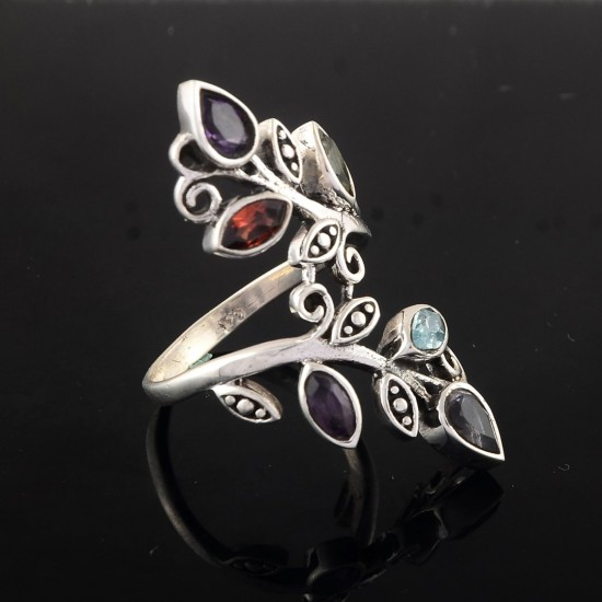 Natural Multi Stone Ring 925 Sterling Silver Birthstone Ring Jewelry Engagement Ring