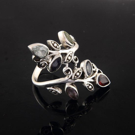 Amazing Silver Ring !! Multi Stone Ring 925 Sterling Silver Engagement Ring Jewelry Gift For Her