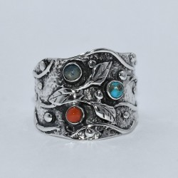Multi Stone Ring Band Ring 925 Sterling Silver Oxidized Handmade Ring Engagement Ring Jewelry