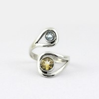 Multi Stone Ring Citrine Blue Topaz 925 Sterling Silver Handmade Silver Ring Jewelry