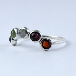Multi Stone Ring Crown Shape Handmade 925 Sterling Silver Multi Colour Ring Friendship Ring Jewelry