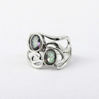 Mystic Quartz 925 Sterling Silver Friendship Ring Women Handcrafted Silver Jewellery