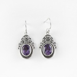 Natural Amethyst 925 Sterling Silver Earring Jewelry