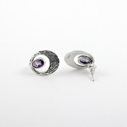 Natural Amethyst Oval 925 Sterling Silver Stud Earring