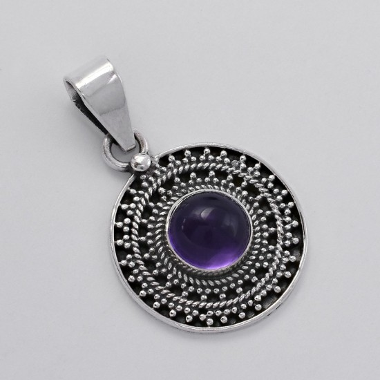 Natural Amethyst 925 Sterling Silver Handmade Pendant Circle Shape Fine Jewelry
