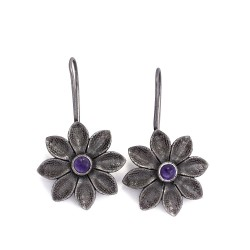 Natural Amethyst 925 Sterling Silver Women Fashion Earring Oxidized Jewelry