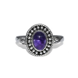 Natural Amethyst Oval Shape 925 Sterling Silver Statement Ring Jewelry Gift For Her