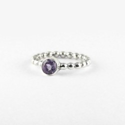 Natural Amethyst Band Ring 925 Sterling Silver Solitaire Ring Manufacture Silver Jewellery