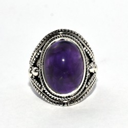 Royalty !! Natural Amethyst Oval Shape Ring 925 Sterling Silver Jewelry Gift For Her