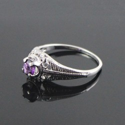 So In Love !! Natural Amethyst Rhodium Plated 925 Sterling Silver Ring Jewelry