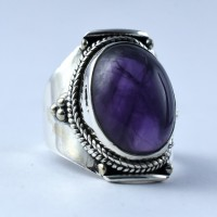 Natural Amethyst Ring 925 Sterling Silver Oxidized Silver Jewelry Engagement Ring Wholesale Silver Jewelry