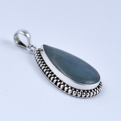 Natural Aquamarine Pendant Pear Shape 925 Sterling Silver Oxidized Silver Jewellery Gift For Her