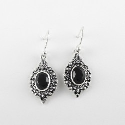 925 Sterling Silver Earring !! Handmade Black Onyx Black Color Gemstone Silver Jewelry Earring