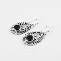 Natural Black Onyx Round Shape 925 Sterling Silver Earring