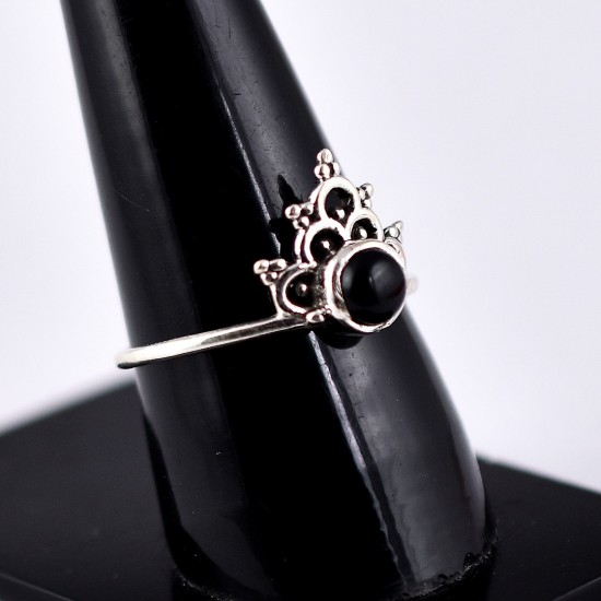 Natural Black Onyx Ring 925 Sterling Silver Engagement Ring Boho Ring Silver Ring Jewellery