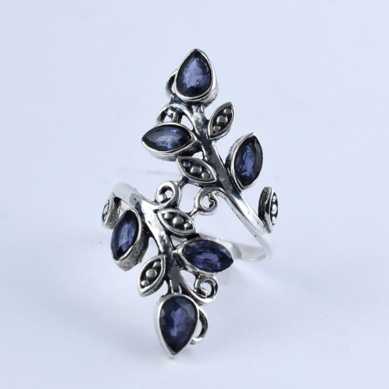 Natural Blue Iolite Ring Bezel Setting Ring Handmade 925 Sterling Silver Engagement Ring Women Fashion Jewellery