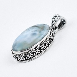 Natural Sky Blue Larimar 925 Sterling Silver Handmade Silver Jewellery Gift For Her