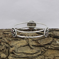 Natural CZ Flower Shape 925 Sterling Silver Bangle Jewelry