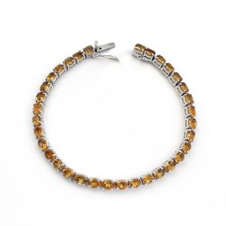 Natural Yellow Citrine 925 Sterling Silver Indian Silver Bracelet Jewelry