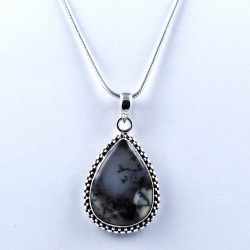 Natural Dendritic Opal Pendant 925 Sterling Silver Artisan Handcrafted Jewelry Indian Silver Oxidized Jewelry