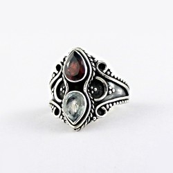 Natural Garnet Blue Topaz Handmade 925 Sterling Silver Ring Manufacture Silver Jewelry