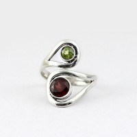 Natural Garnet Peridot 925 Sterling Silver Ring Promises Ring Indian Silver Ring Jewelry