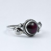 Natural Garnet Ring Handmade 925 Sterling Silver Round Shape Birthstone Ring Jewelry Gift For Her