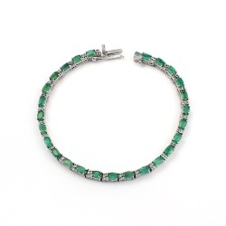 Trendy !! Natural Green Emerald 925 Sterling Silver Bracelet Handmade Jewelry