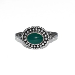Natural Green Onyx 925 Sterling Silver Ring Fine Boho Jewelry Engagement Ring