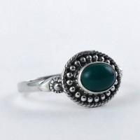 Natural Green Onyx Ring Handmade 925 Sterling Silver Jewelry Boho Ring Promises Ring Jewelry Gift For Her