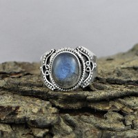 Unique Design Natural Labradorite 925 Sterling Silver Ring Jewelry