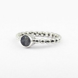 Natural Labradorite 925 Sterling Solid Silver Band Ring Jewelry Birthstone Jewelry Gift For Her