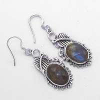 Natural Labradorite Drop Earring Handmade Solid 925 Sterling Silver Oxidized Silver Jewelry Women Earring Jewelry