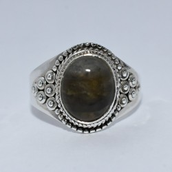 Natural Labradorite Oval Shape Ring 925 Sterling Silver Handmade Engagement Ring Jewelry