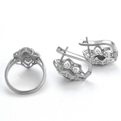 Natural Labradorite Ring Earring Rhodium Polished Jewelry Set Solid 925 Sterling Silver Jewelry