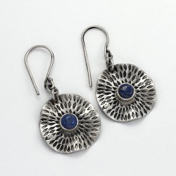 Natural Lapis Lazuli Earring 925 Sterling Silver Handmade Oxidized Earring Jewelry