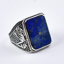 Natural Lapis Lazuli Ring Rectangle Shape 925 Sterling Silver Oxidized Silver Ring Jewellery Gift For Her