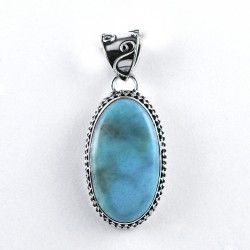 Natural Larimar Pendant Oval Shape Handmade 925 Sterling Silver Pendant Jewelry Gift For Her