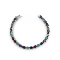 Natural Multi Stone 925 Sterling Silver Bracelet Indian Silver Jewelry