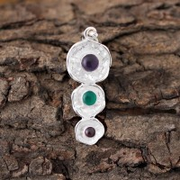 Natural Multi Gemstone Round Shape 925 Sterling Silver Handmade Pendant