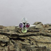 Natural Multi Stone 925 Sterling Silver Handmade Ring Jewelry Gift For Her