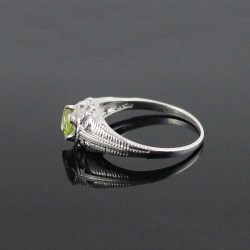 Amazing !! Natural Peridot 925 Sterling Silver Rhodium Plated Ring Jewelry