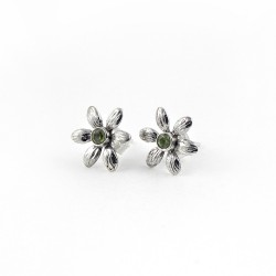 Natural Peridot 925 Sterling Silver Stud Earring Jewelry Gift For Her