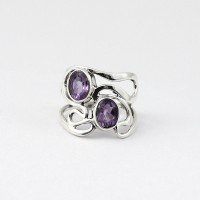 Natural Purple Amethyst 925 Sterling Silver Handmade Silver Ring Jewelry Gift For Her