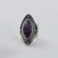 Natural Purple Amethyst 925 Sterling Silver Ring
